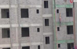 10 katlı inşaatta asılı kaldı 3